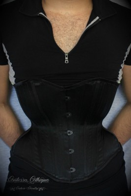 Contessa Gothique has created this super-sleek men's training underbust, fully boned and made with black satin coutil! Modelled by none other than the owner of Innova corsetry.