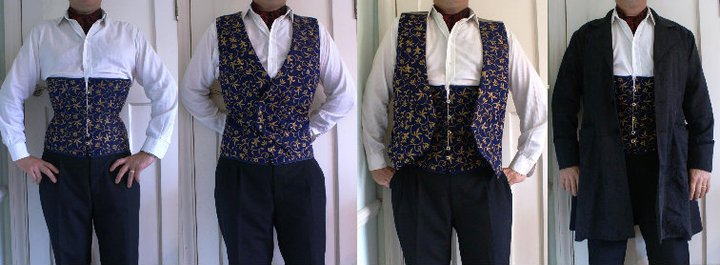 "Heavenly Corsets' Gentleman's 6"" reduction underbust, with matching waistcoat in blue/gold silk brocade. Modelled by Tarquin"