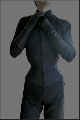 Electra Designs custom longline underbust corset adapted to male figure