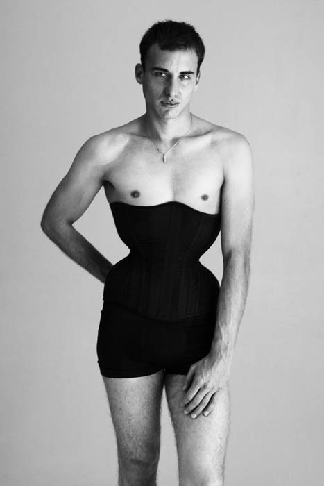Gabriel Moginot modelling his own corset, from Maison Moginot (starts at €580)