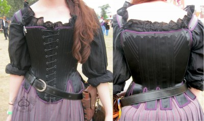 "In the words of the corsetiere (Anachronism in Action, California), this payre of bodies is ""made from satin coutil with plum silk satin binding and leather appliqué. Stays have functional spiral lacing, and a mixture of steel and artificial whalebone for support."" I adore the subtle yet sophisticated scalloped detail in the back!"