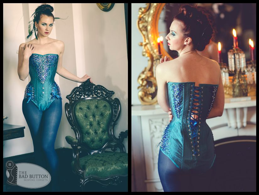 The Quetzal corsetbody is inspired by the Resplendent Quetzal, featuring crystal embellished hips, chest and wings, as well as functional hip lacing. Model: Bailey Johnson. Photo: Aesthetic Aperture