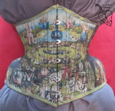 "Amber of Lovely Rats has recently made this incredible corset, featuring Bosch's painting ""Garden of Earthly Delights"". She must have been incredibly careful to match such fine details at each seam!"