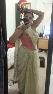 Lucy tying sari