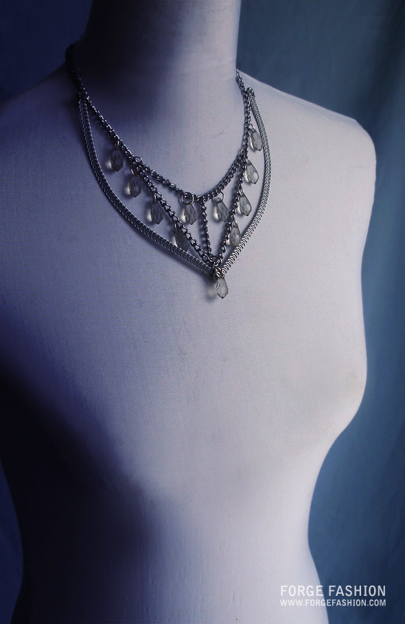 Spiral steel structured necklace by Forge Fashion