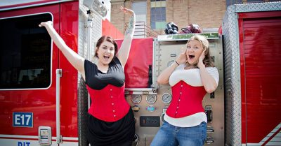 Brittney and Amber model the CS-345 underbust in a limited edition red satin.
