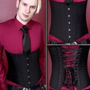 Men's Black Cashmere Corset