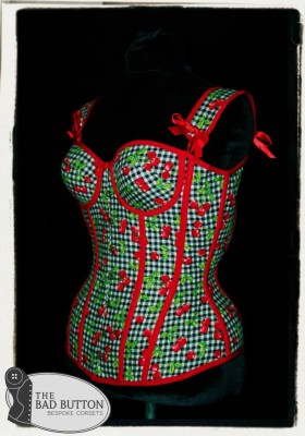 Cherries Pin-Up Picnic overbust corset with cups by The Bad Button
