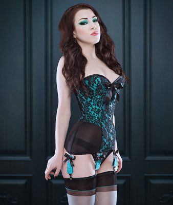 Morgana Femme Couture cupped overbust corset-girdle with brocade and powermesh (from $510)