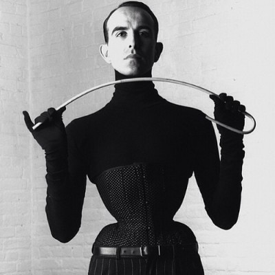 Mr. Pearl in one of his own spot broche corsets