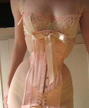 Powermesh and satin corset-girdle by Sian Hoffman