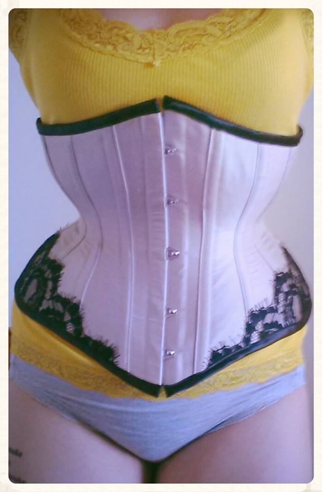 Asymmetric Underbust with eyelash lace by Valkyrie Corsets