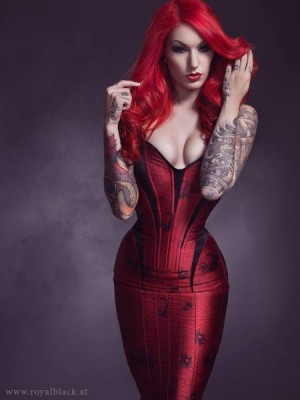 This floor-length corset gown by Royal Black (Austria) laces to the knee and is cut for serious curves. Model/styling: Červená Fox, Photo: Julian M Kilsby (ShadowFlux)