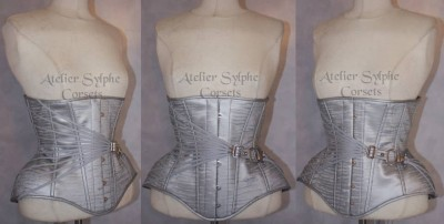 Gorgeous silver underbust with decorative fan lacing, by Atelier Sylphe (France)