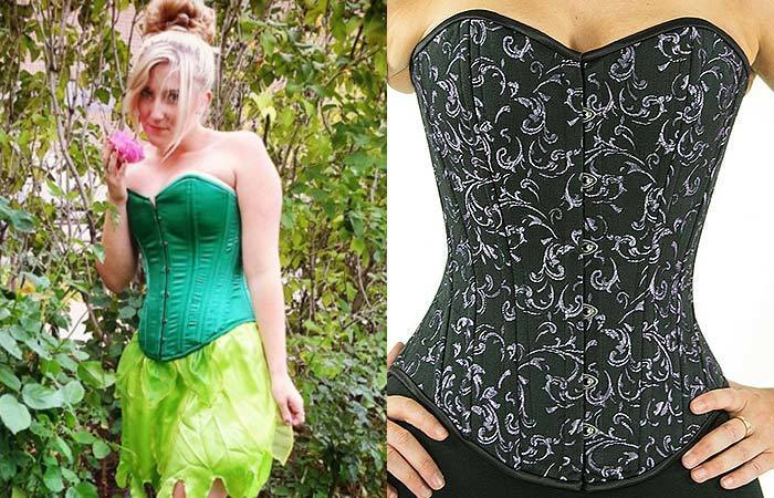 CS-530 overbust in limited edition green satin, and silver-on-black brocade. Click through for Orchard Corset's buyer guide.
