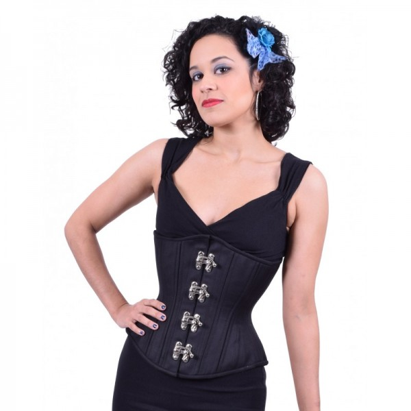 black cashmere hourglass swinghook corset
