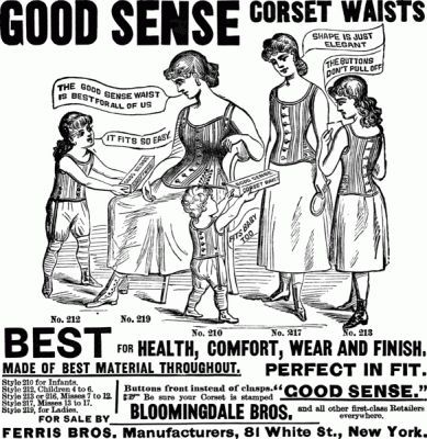 1886 'Good Sense' advertisement for women and children of all ages