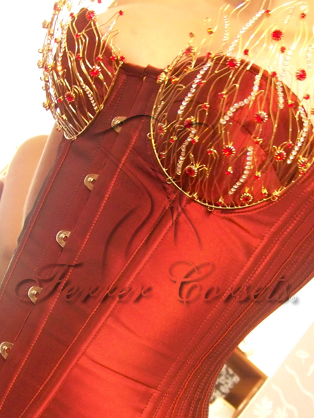 """Carmim Passion"" adorned cupped overbust, made by Ferrer Corsets in Brazil"