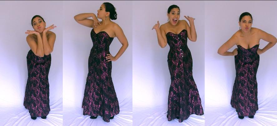 Lucy Corsetry posing in the Veco corset dress by Vollers.