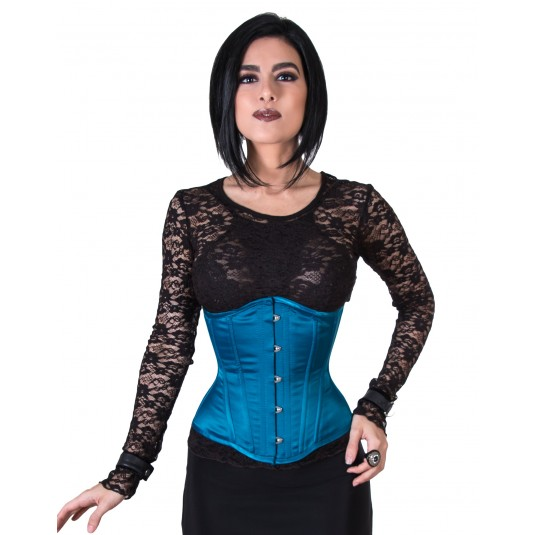 Rebel Madness teal satin waist training tight lacing corset for sale at Lucy's Corsetry $79 USD